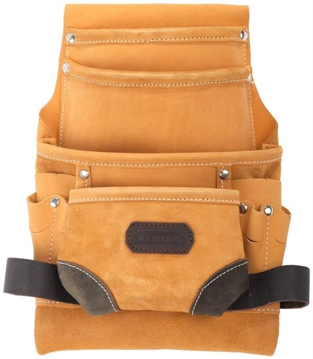 KRAFTOOL кожа, 10 карманов, петля (скоба) для крупного инструмента, сумка поясная для инструментов 1-38531 - фото 12407