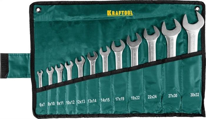 KRAFTOOL 12 шт., 8-19 мм, Cr-V сталь, хромированный, набор ключей гаечных рожковых 27033-H12 - фото 12588
