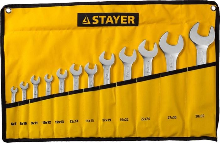 STAYER 12 шт, 6 - 32 мм, набор ключей гаечных рожковых 27035-H12 - фото 12598
