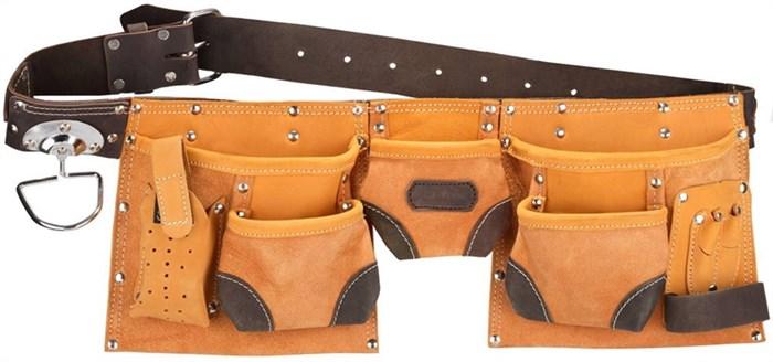 Пояс STAYER PROFESSIONAL для инструментов, кожаный, 11 карманов, 2 скобы - фото 13786
