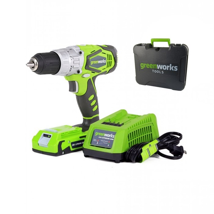 Дрель-шуруповерт ударная аккумуляторая Greenworks G24CDK2X - фото 25093