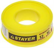 STAYER толщина 0,075 мм, плотность 0,40 г/см3, ширина 12 мм, фум лента 12360-12-040
