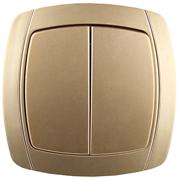 """СВЕТОЗАР 10А/~250В, металлик, двухклавишный, выключатель """"АКЦЕНТ"""" SV-54234-GM"""