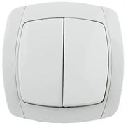 """СВЕТОЗАР 10А/~250В, белый, двухклавишный, выключатель """"CITY LIGHT"""" SV-54234-W"""