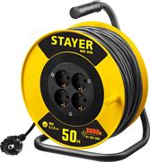 STAYER 50 м, 3500 Вт, заземление, 4 гнезда, ПВС 3x1,5 кв мм, удлинитель на катушке 55078-50