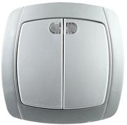 """СВЕТОЗАР 10А/~250В, серебристый металлик, двухклавишный, выключатель """"АКЦЕНТ"""" SV-54235-SM"""