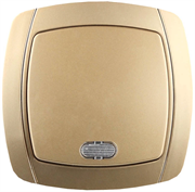 """СВЕТОЗАР 10А/~250В, золотой металлик, одноклавишный, выключатель """"АКЦЕНТ"""" SV-54231-GM"""