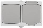 """СВЕТОЗАР 10А, 250 В, комплект """"АВРОРА"""": розетка и выключатель одноклавишный SV-54323-W"""
