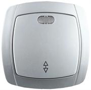 """СВЕТОЗАР 10А/~250В, серебристый металлик, проходной, одноклавишный, выключатель """"АКЦЕНТ"""" SV-54238-SM"""