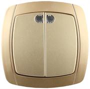 """СВЕТОЗАР 10А/~250В, золотой металлик, двухклавишный, выключатель """"АКЦЕНТ"""" SV-54235-GM"""