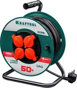 KRAFTOOL 50 м, 3500 Вт, 4 гнезда, IP44, ПВС 3x1,5 кв мм, удлинитель на катушке 55084-50