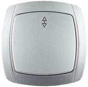 """СВЕТОЗАР 10А/~250В, серебристый металлик, проходной, одноклавишный, выключатель """"АКЦЕНТ"""" SV-54237-SM"""