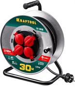 KRAFTOOL 30 м, 3700 Вт, 4 гнезда, IP44, КГ 3x1,5 кв мм, удлинитель на катушке 55085-30_z01