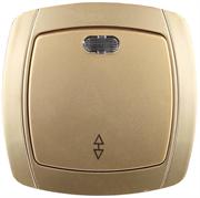 """СВЕТОЗАР 10А/~250В, золотой металлик, проходной, одноклавишный, выключатель """"АКЦЕНТ"""" SV-54238-GM"""