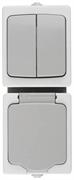 """СВЕТОЗАР 10А, 250 В, комплект """"АВРОРА"""": розетка и выключатель двухклавишный SV-54325-W"""