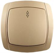 """СВЕТОЗАР 10А/~250В, золотой металлик, проходной, одноклавишный, выключатель """"АКЦЕНТ"""" SV-54237-GM"""