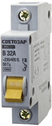 """СВЕТОЗАР 32 А, 4,5 kA, 1-полюсной, """"B"""", 230/400 В, автоматический выключатель 49050-32-B"""