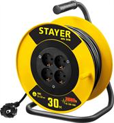 STAYER 30 м, 3500 Вт, заземление, 4 гнезда, ПВС 3x1,5 кв мм, удлинитель на катушке 55078-30