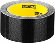 STAYER 48 мм х 25 м, черная, на тканевой основе, армированная лента (скотч) 12086-50-25