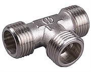 """GENERAL FITTINGS 3/4"""", латунь с никелированным покрытием, """"штуцер - штуцер - штуцер"""", тройник 51051-3/4"""