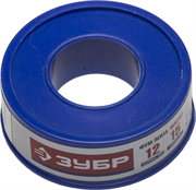 ЗУБР толщина 0,1 мм, плотность 0,25 г/см3, ширина 12 мм, фум лента 12373-12-025