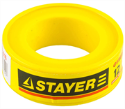 STAYER толщина 0,075 мм, плотность 0,16 г/см3, ширина 12 мм, фум лента 12360-12-016