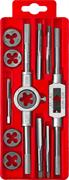 ЗУБР 12 предметов, 9ХС, набор метчиков и плашек в пластик. боксе 28121-H12