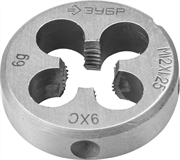 ЗУБР М12 x 1.25 мм, 9ХС, круглая ручная, плашка 4-28022-12-1.25