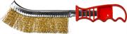MIRAX однорядная, пластмассовая рукоятка, витая стальная латунированная проволока, щетка проволочная 35112-1