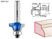 ЗУБР D=22.2 мм, рабочая длина-9.4 мм, радиус-4.8 мм, хв.-8 мм, d=12.7 мм, фреза кромочная калевочная №1 28701-22.2