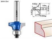 ЗУБР D=25.4 мм, рабочая длина-11 мм, радиус-6.3 мм, хв.-8 мм, d=12.7 мм, фреза кромочная калевочная №1 28701-25.4