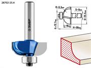 ЗУБР D=25.4 мм, рабочая длина-10 мм, радиус-6.3 мм, хв.-8 мм, d=12.7 мм, фреза кромочная калевочная №2 28702-25.4