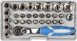 """Набор ЗУБР """"ЭКСПЕРТ"""": Биты 16шт,торцов головки с мини трещоткой 12шт,адаптер для бит SQ 1/4""""хHex 1/4"""",удлинит 1/4""""/80мм"""