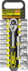 """Набор STAYER """"STANDARD"""": Торцовые головки (1/2"""") на пластиковом рельсе, трещотка, удлинитель, 8-32мм, 20 предметов"""