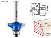 ЗУБР D=25.4 мм, рабочая длина-10.5 мм, радиус-6.35 мм, хв.-8 мм, d=9.5 мм, фреза кромочная калевочная калевочная №1 28700-25.4