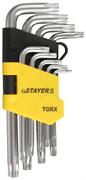 STAYER 9 шт., Cr-V, ключи имбусовые короткие 2743-H9