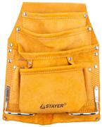 STAYER 8 карманов, кожаная, петля (скоба) для крупного инструмента, сумка поясная для инструментов 38505