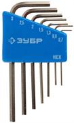 ЗУБР 7 шт., Cr-V, ключи имбусовые мини 27471-H7