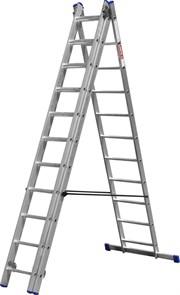 Лестница ЗУБР универсальная, трехсекционная со стабилизатором, 11 ступеней