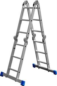 """Лестница-трансформер ЗУБР """"ЭКСПЕРТ"""" алюминиевая с платформой, 4х3 ступени"""