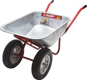 ЗУБР 200 кг, 90 л, двухколёсная, из цинкованной стали, тачка садово-строительная 39911