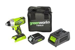 Дрель-шуруповерт ударная аккумуляторая Greenworks,  с 1хАКБ 2 А.ч. и ЗУ в сумке