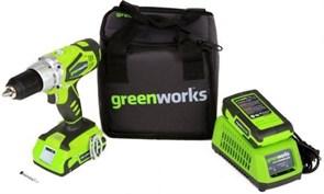 Дрель-шуруповерт ударная аккумуляторая Greenworks, 24V, с 2хАКБ 2 А.ч. и ЗУ в сумке