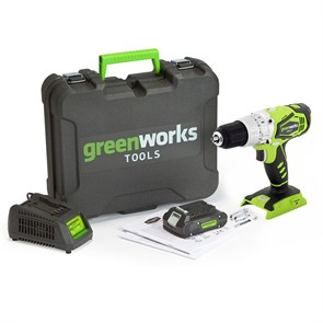 Дрель-шуруповерт аккумуляторная Greenworks G24DDK2, , c 1хАКБ 2 А.ч и ЗУ в кейсе