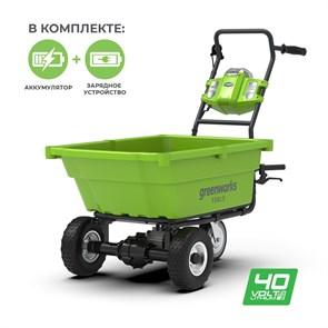 Садовая тележка самоходная Greenworks G40GCK4, 40V, 106 л, с 1хАКБ 4 А.ч и ЗУ