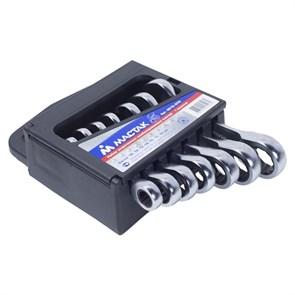 Набор комбинированных трещоточных укороченных ключей, 10-19 мм, 7 предметов МАСТАК 0215-07H