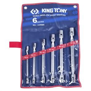 Набор торцевых ключей с шарниром, 8-19 мм, 6 предметов KING TONY 1A06MR