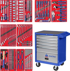 """Набор инструментов """"МАСТЕР"""" в синей тележке, 205 предметов МАСТАК 52-05205B"""