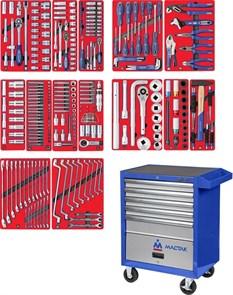 """Набор инструментов """"ПРОФИ"""" в синей тележке, 299 предметов МАСТАК 52-05299B"""