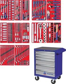 """Набор инструментов """"ПРОФИ"""" в синей тележке, 299 предметов МАСТАК 52-06299B"""
